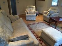 Large sofa 2 armchairs & footrest