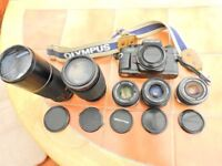 Olympus OM 40 program 35mm film camera + accessories.