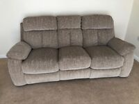 Three/four seater reclining sofa and matching puffy storage