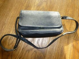 barely used small black leather effect handbag with shoulder strap