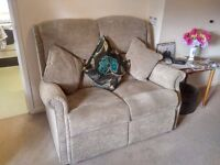 Warm and Comfy Grey/Beige Two Seater Sofa