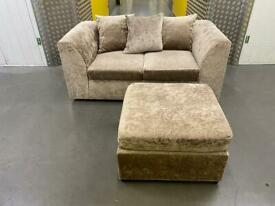 Crushed velvet sofa+footstool •free delivery