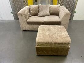 Crushed velvet sofa+footstool •free delivery