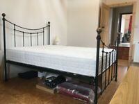 Double bed frame dark green metal