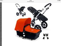 Pram bugaboo chameleon 3 red with maxi cosi pebbles car seat and isofix
