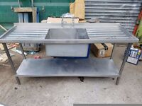 COMMERCIAL STAINLESS STEEL SINGLE BOWL SINK WITH TAPS kitchen sink FOR CaTERING