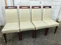 4 cream leather look / wooden dining chairs