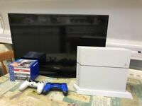 PS4 500GB WHITE + 32 INCH HD Samsung TV + 2 Controllers + Charging Stand + 8 GAME BUNDLE