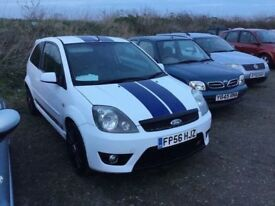 56 REG FORD FIESTA ST 148 BHPOWER TOP SPEC CAR FULL ST LEATHER SEATS IN WHITE FSH GOES LIKE A ROCKET