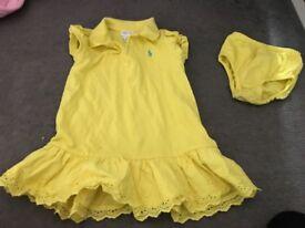 Baby girl lemon Ralph Lauren dress size 18 months