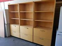 Large office shelving units with filing drawers (three in stock)