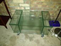 Glass tv unit with shelves