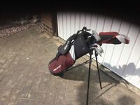 Golf clubs suitable for junior beginners all in a Wilson bag six clubs