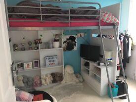 High sleeper entertainment single bed