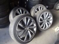 """set of 22"""" AUDI Q7 ALLOYS IN EXCELLENT COND NO KERBING WITH GUD 285 35 22 TYRES £450ono"""
