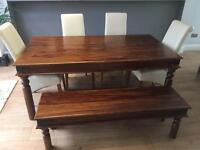 Maharani Dining Table, Bench and 4 leather faux pas chairs