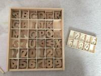 4cm wooden letters and numbers plus smaller numbers