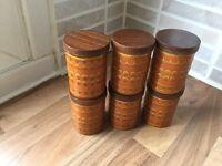 Set of 6 Hornsea pottery spice pots