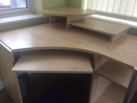 Modern Light Wood And Metal Corner Desk