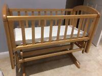 Crib, John Lewis light wood swinging crib suitable for 0-4months with John Lewis mattress