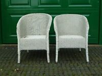 LLoyd Loom wicker white chairs