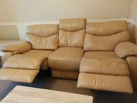 Pair of 3 Seater Beige Real Leather Sofas