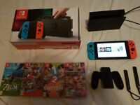 Nintendo Switch with 8 games and accessories