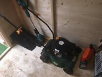 Petrol lawn mower and cordless trimmer