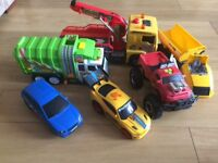 Set of 6 Toy Cars, Bin lorry, Pick-up truck and Dumper