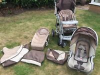 Mothercare pram with all accessories including car seat.