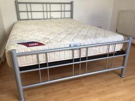 Double Bed - Silver/grey Metal Frame