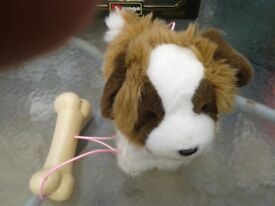Lovely toy dog walks and barks