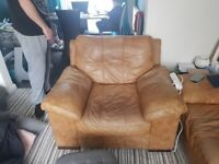 Soft leather corner sofa and chair