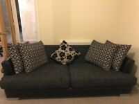 4 piece deluxe sofa set inc. throw cushions in black and grey fabric