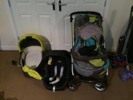 Mamas & Papas stroller, Aton car seat and carry cot.