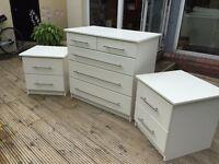 Ivory 5-drawer chest with two matching 2-drawer bedside tables