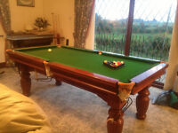 Snooker & Pool Table 8' x 4' Quality Oak Table Titan Cues Rests & Stand