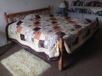 Super-King 6' wide pine bed frame