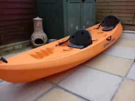 2 Seater Kayak with seats two paddles and trolley for easy manoeuvres
