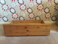 Two Pine Under Bed Wheeled Storage Drawers.