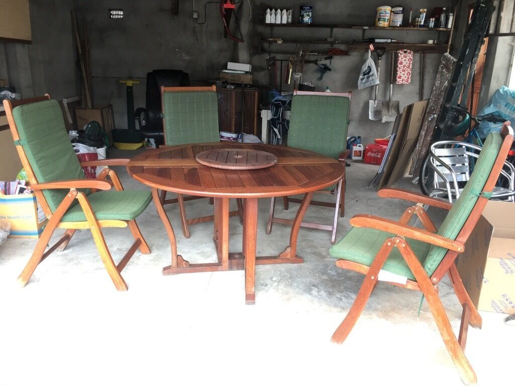 Garden Furniture Gumtree wooden garden furniture set of table and four reclining chairs
