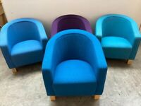 BLUE FABRIC OFFICE TUB CHAIR, RECEPTION,OFFICE, MEETING. OTHER COLOURS AVAILABLE