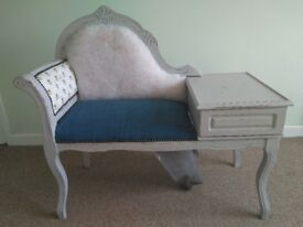 Furniture phone / armchair (50s) half upholstered with fabric bees Manchester