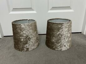 Pair of Champagne Crushed Velvet Lampshades