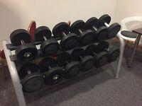 2 Dumbbell racks - 22-32kg set and 34-40kg set - 1 Barbell set - 10-45kg set.