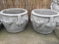 Large pair stone garden planters, fantastic detail