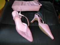 Pink heels, hardly worn, with matching clutch bag - size 5