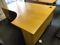 Office desk and 3 matching 3 draw pedestal
