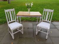 SMALL rustic boho farmhouse dining/kitchen TABLE & 2 vintage shabby chic CHAIRS. LOCAL DELIVERY.
