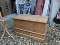 Chunky Pine Blanket Box - with drawers